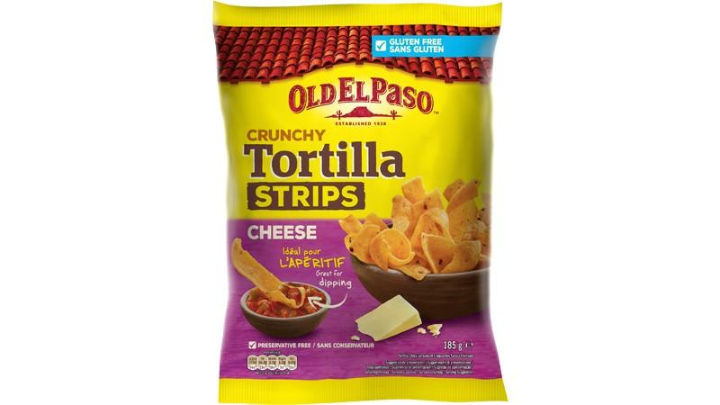 Old El Paso Crunchy Tortilla Strips Cheese 185 g
